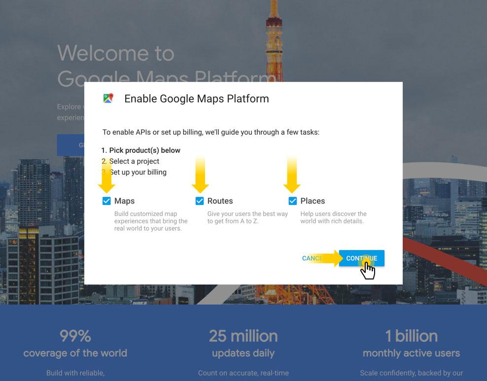 Google Map API-مرحله اول