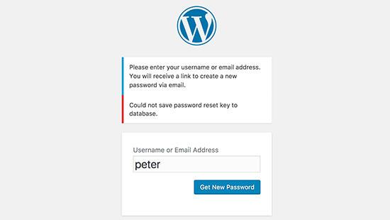 خطای عدم بازسازی رمز عبور